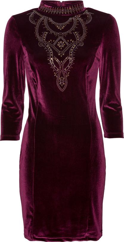 Czerwona sukienka bonprix BODYFLIRT boutique z golfem