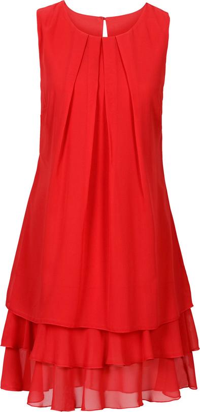 Czerwona sukienka bonprix BODYFLIRT trapezowa z szyfonu