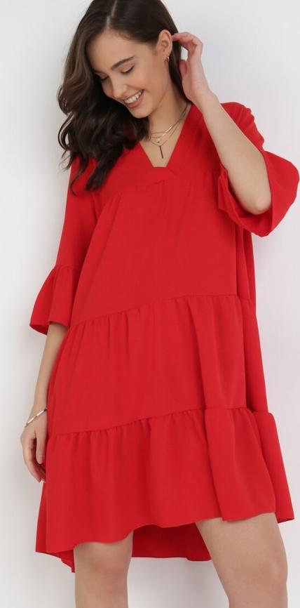 Czerwona sukienka born2be mini z długim rękawem