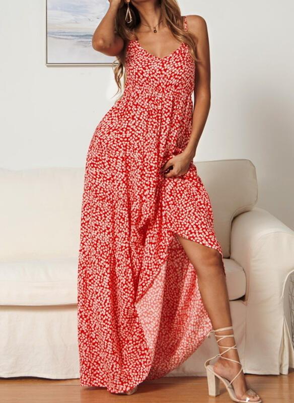 Czerwona sukienka Cikelly na ramiączkach z dekoltem w kształcie litery v maxi
