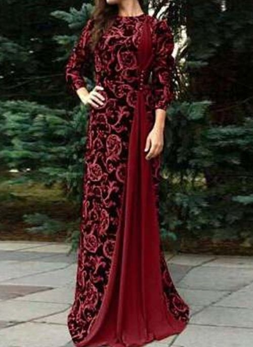 Czerwona sukienka Cikelly z długim rękawem maxi