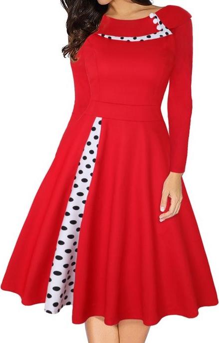 Czerwona sukienka Cikelly z długim rękawem mini z okrągłym dekoltem