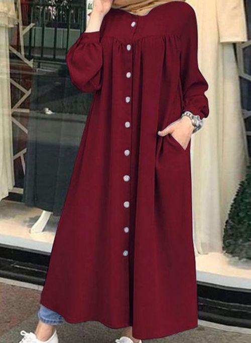 Czerwona sukienka Cikelly z długim rękawem w stylu casual