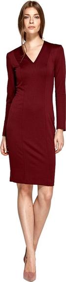 Czerwona sukienka Colett z dekoltem w kształcie litery v z długim rękawem
