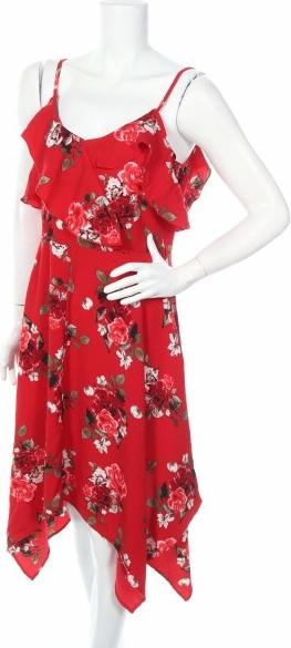 Czerwona sukienka Colloseum na ramiączkach z dekoltem w kształcie litery v midi