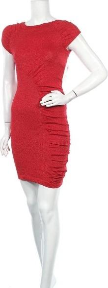 Czerwona sukienka DEREK HEART z krótkim rękawem mini z okrągłym dekoltem