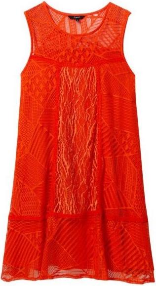 Czerwona sukienka Desigual bez rękawów z okrągłym dekoltem