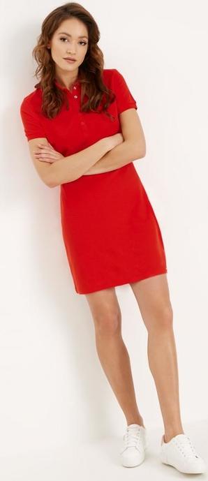 Czerwona sukienka Diverse mini z dekoltem w kształcie litery v