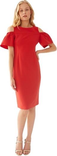 Czerwona sukienka ECHO z krótkim rękawem z okrągłym dekoltem z tkaniny