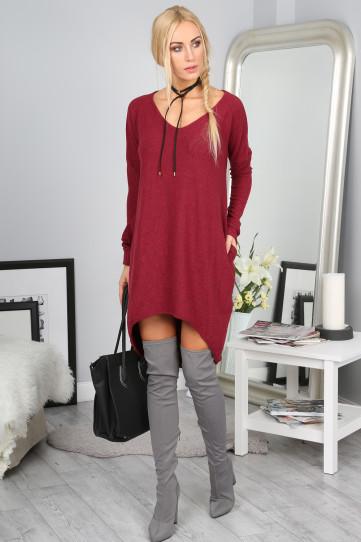 Czerwona sukienka Fasardi mini oversize z dekoltem w kształcie litery v