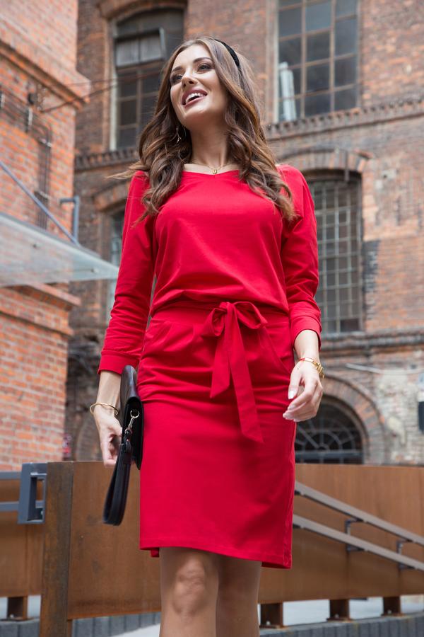 Czerwona sukienka Fasardi z długim rękawem z dekoltem w kształcie litery v