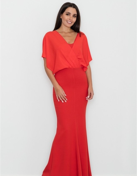 Czerwona sukienka Figl z krótkim rękawem z dekoltem w kształcie litery v dopasowana