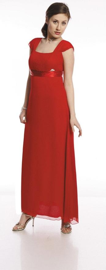Czerwona sukienka Fokus maxi rozkloszowana