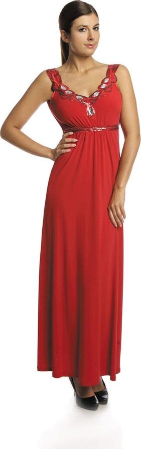 Czerwona sukienka Fokus maxi z dekoltem w kształcie litery v z dzianiny
