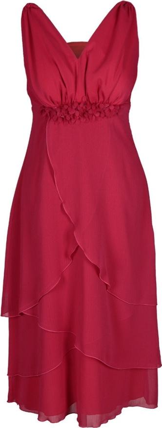 Czerwona sukienka Fokus z dekoltem w kształcie litery v midi w stylu glamour