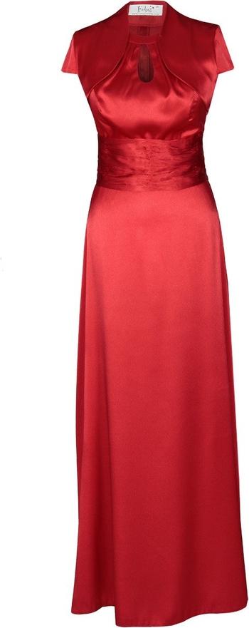 Czerwona sukienka Fokus z krótkim rękawem