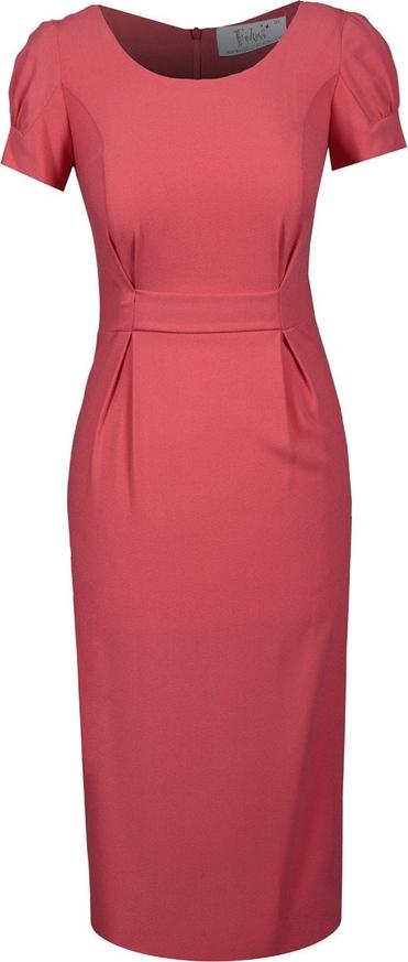 Czerwona sukienka Fokus z krótkim rękawem midi z tkaniny