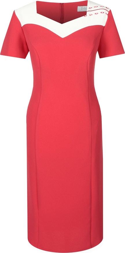 Czerwona sukienka Fokus z krótkim rękawem ołówkowa
