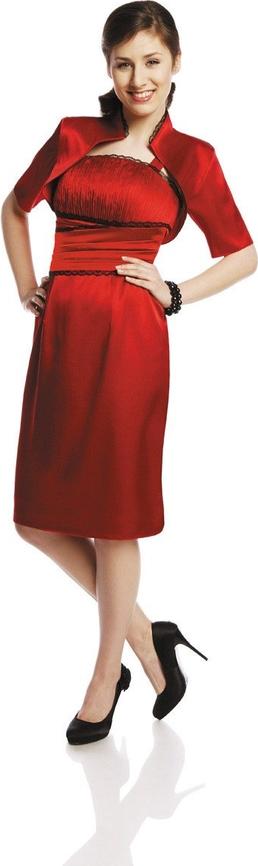 Czerwona sukienka Fokus z krótkim rękawem z szyfonu z dekoltem w łódkę