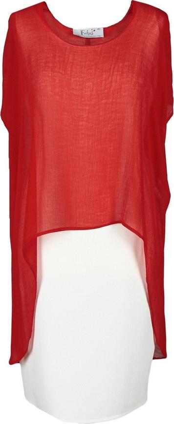 Czerwona sukienka Fokus z krótkim rękawem z tkaniny koszulowa