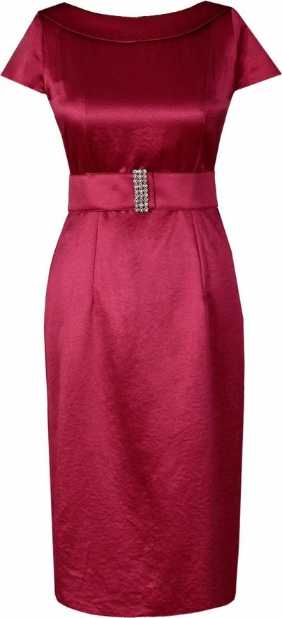 Czerwona sukienka Fokus z okrągłym dekoltem midi z krótkim rękawem