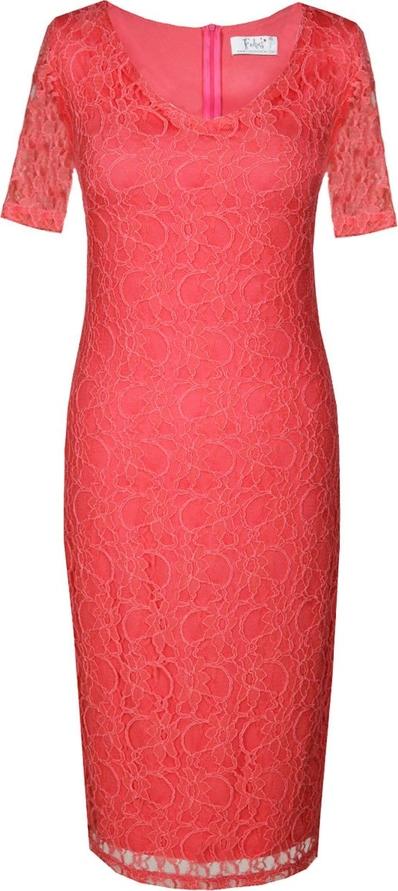 Czerwona sukienka Fokus z okrągłym dekoltem w stylu klasycznym z krótkim rękawem
