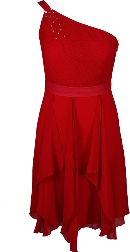 Czerwona sukienka Fokus z szyfonu mini bez rękawów