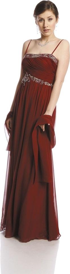 Czerwona sukienka Fokus z szyfonu w stylu glamour maxi