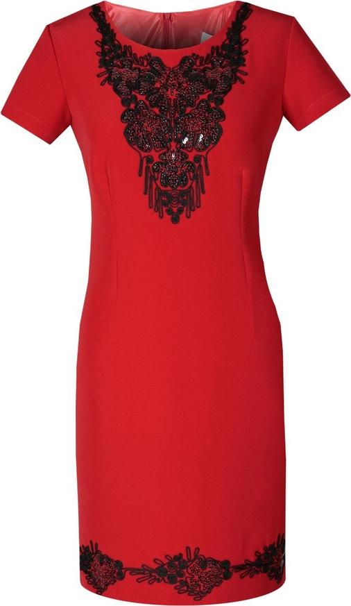 Czerwona sukienka Fokus z tkaniny dopasowana