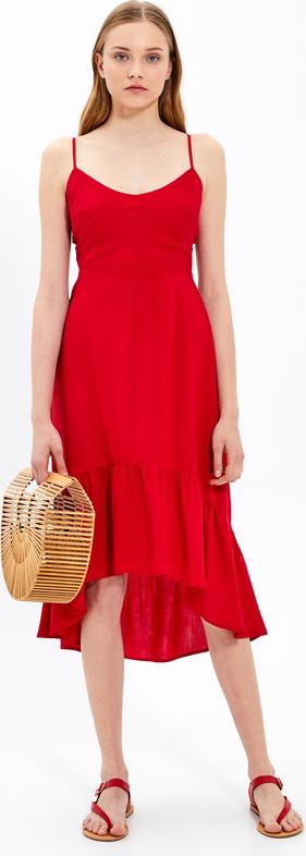 Czerwona sukienka Gate midi na ramiączkach