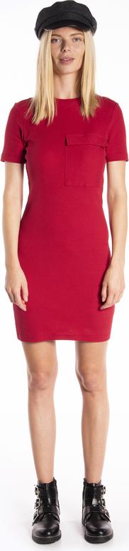 Czerwona sukienka Gate z okrągłym dekoltem ołówkowa