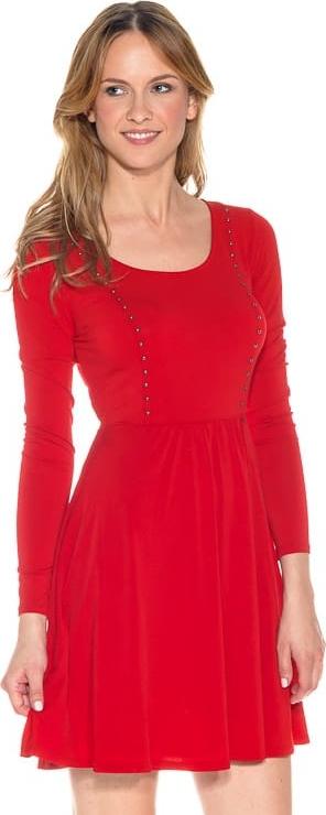 Czerwona sukienka Guess w stylu casual mini rozkloszowana