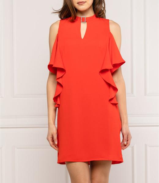 Czerwona sukienka Guess z długim rękawem z okrągłym dekoltem