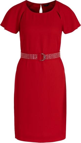 Czerwona sukienka Guess z okrągłym dekoltem w stylu casual z krótkim rękawem