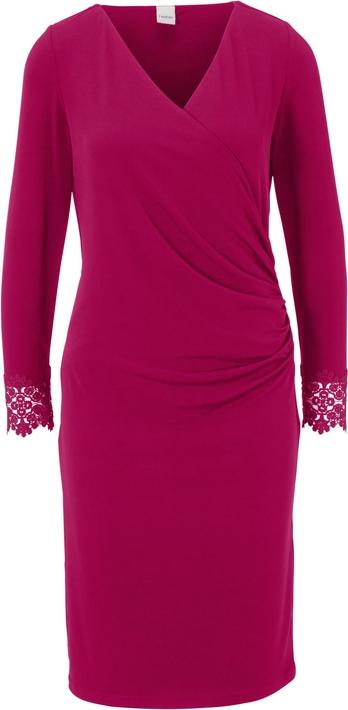 Czerwona sukienka Heine z dekoltem w kształcie litery v z długim rękawem z dżerseju