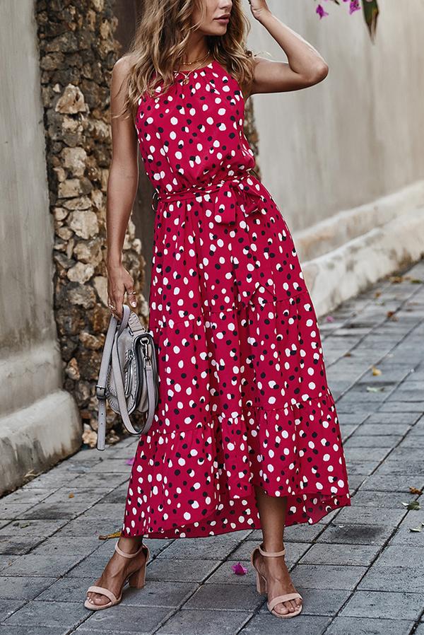 Czerwona sukienka IVET trapezowa midi