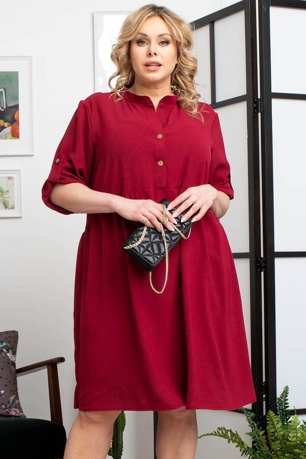 Czerwona sukienka KARKO mini dla puszystych z kołnierzykiem