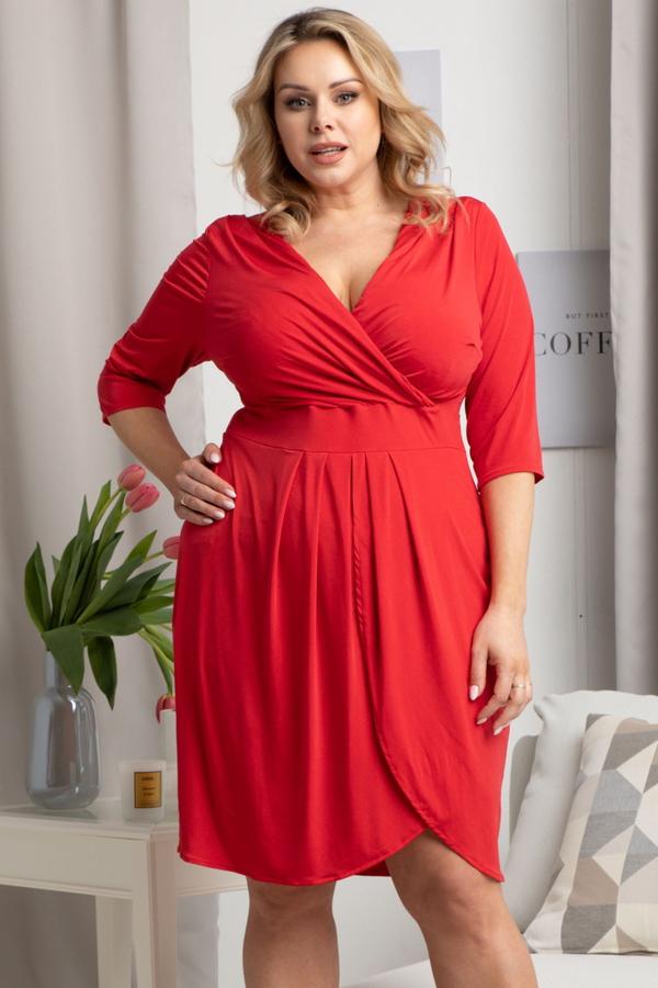 Czerwona sukienka KARKO mini z dekoltem w kształcie litery v