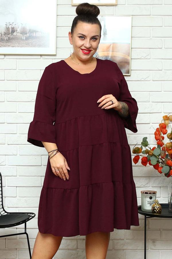 Czerwona sukienka KARKO z długim rękawem