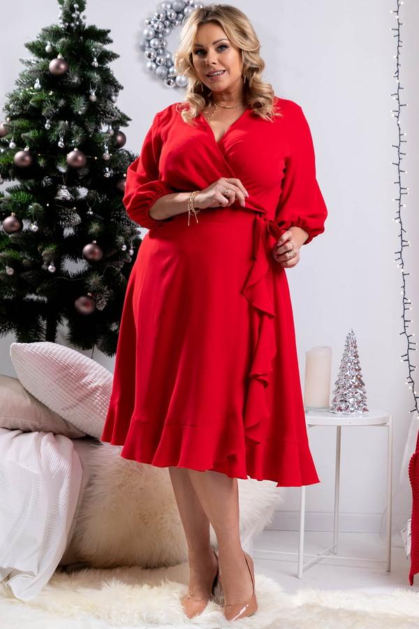 Czerwona sukienka KARKO z dzianiny w bożonarodzeniowy wzór