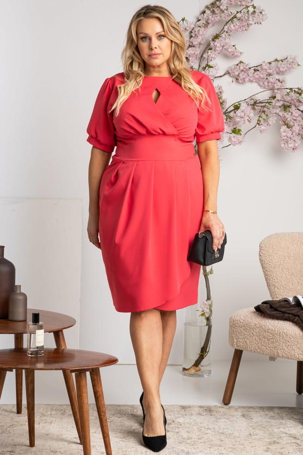Czerwona sukienka KARKO z krótkim rękawem ołówkowa