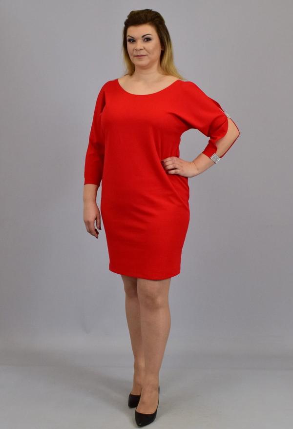 Czerwona sukienka KARKO z okrągłym dekoltem mini z długim rękawem