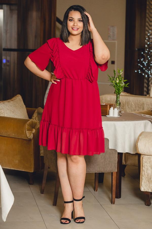 Czerwona sukienka KARKO z szyfonu z krótkim rękawem
