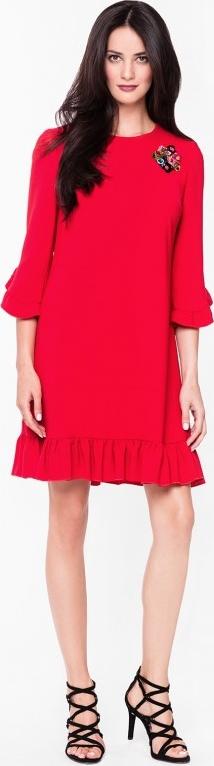 Czerwona sukienka L'AF midi kopertowa