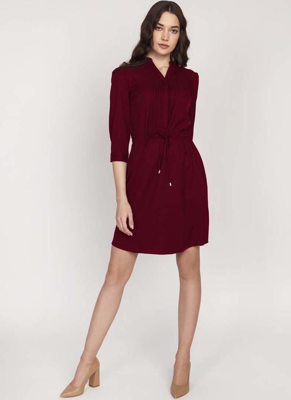 Czerwona sukienka Lanti z długim rękawem