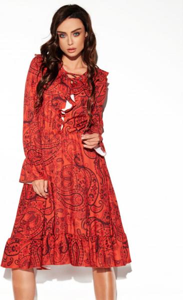 Czerwona sukienka Lemoniade z długim rękawem
