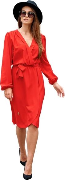 Czerwona sukienka Lemoniade z długim rękawem z dekoltem w kształcie litery v