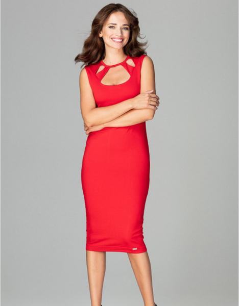 Czerwona sukienka LENITIF midi