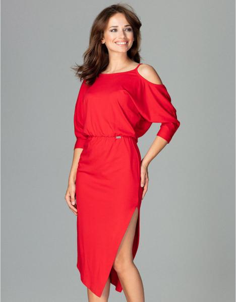 Czerwona sukienka LENITIF ołówkowa z długim rękawem