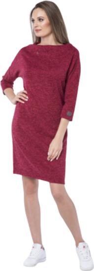Czerwona sukienka Look made with love ołówkowa z długim rękawem